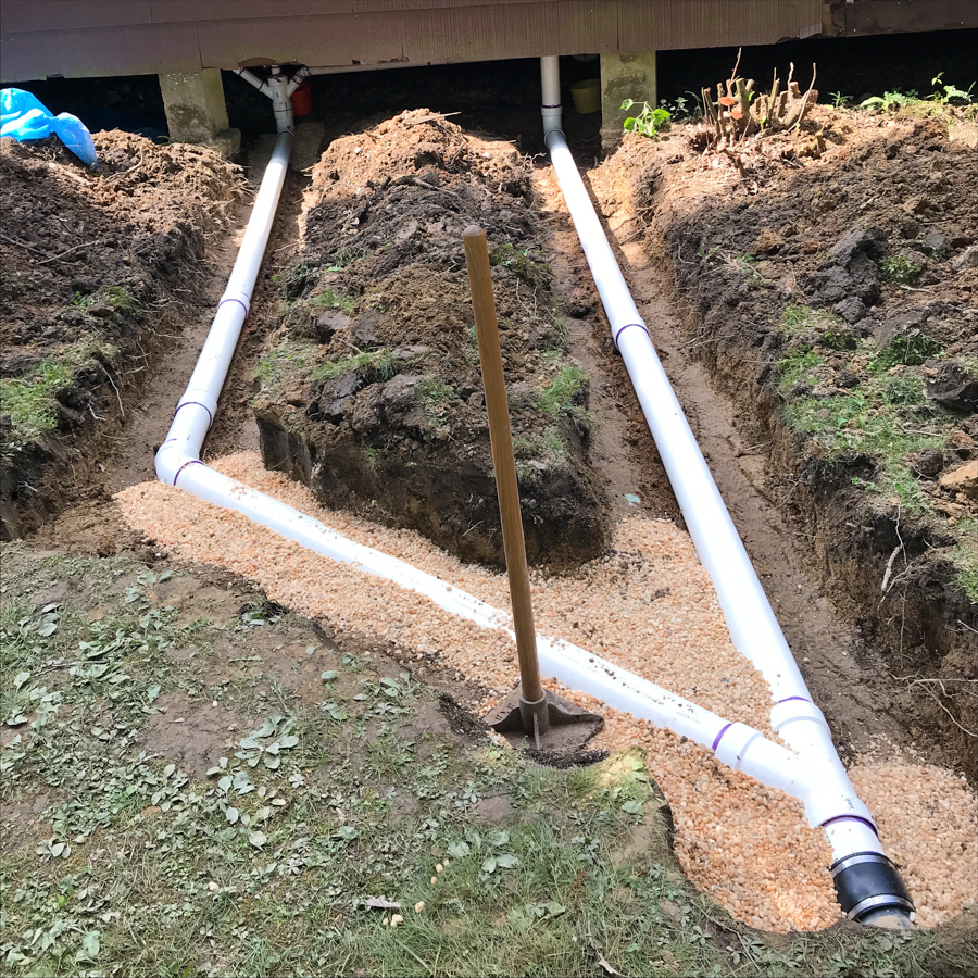 Sewer Pipe Tie In & Pea Gravel Backfill