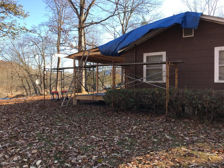 Blue Tarp - Porch Roof Overhang