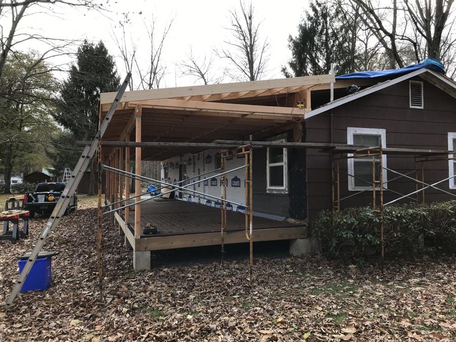 Porch roof overhang.