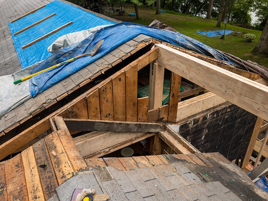 Deck Boards Removed - Roof Demolition